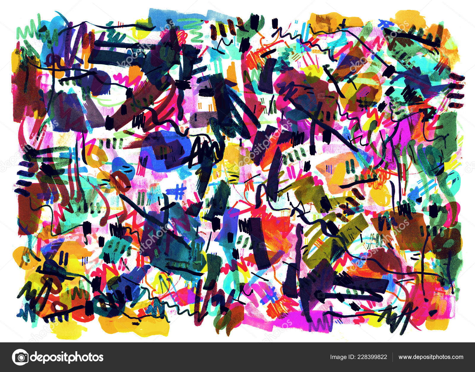Bright Color Abstract Painting In Memphis Style Stock