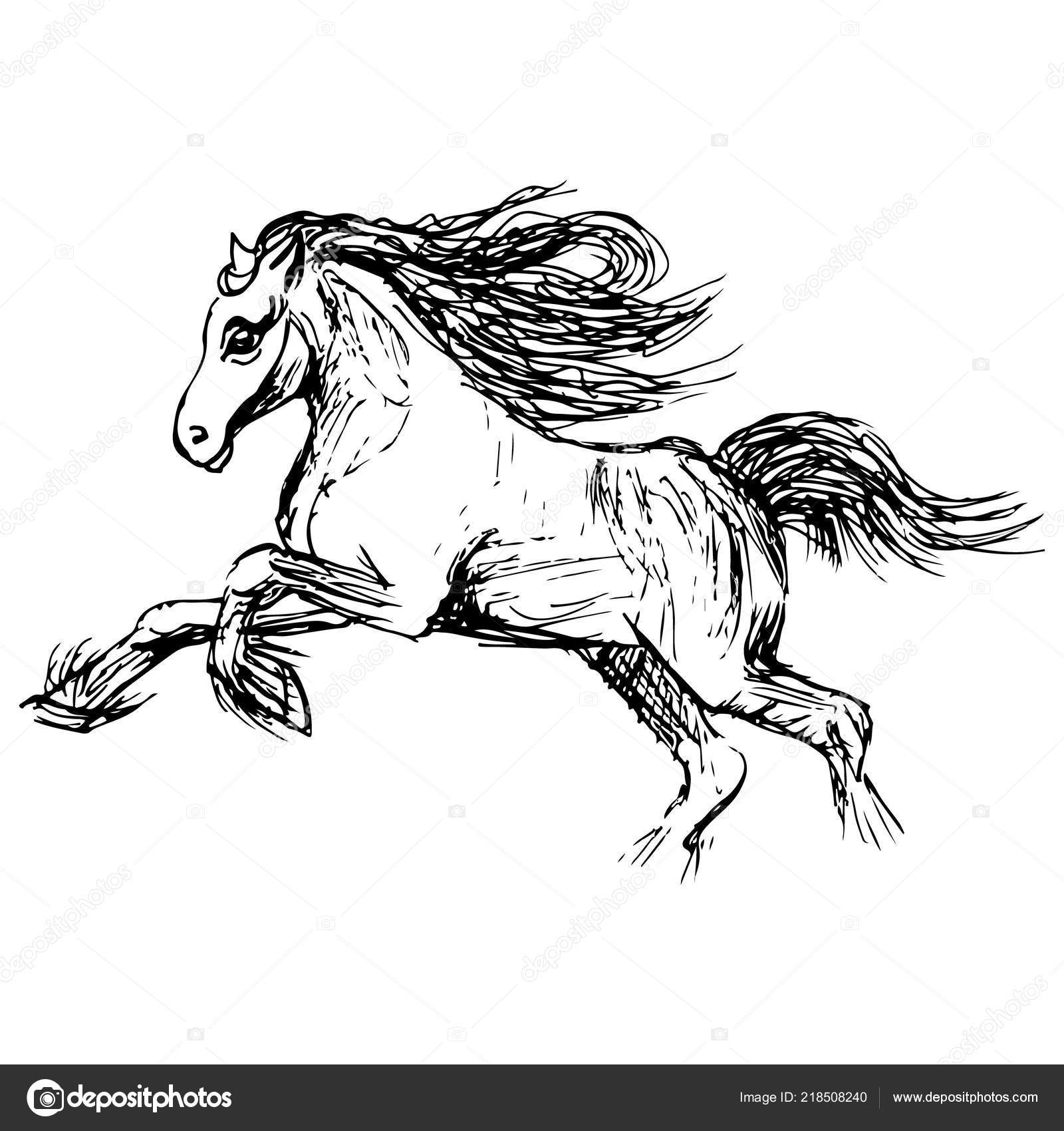 Magic Horse Illustration Isolated White Background Stock Vector C Mainfu 218508240