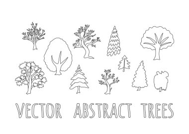 Set of vector abstract trees, silhouettes outlined trees in black color collection.