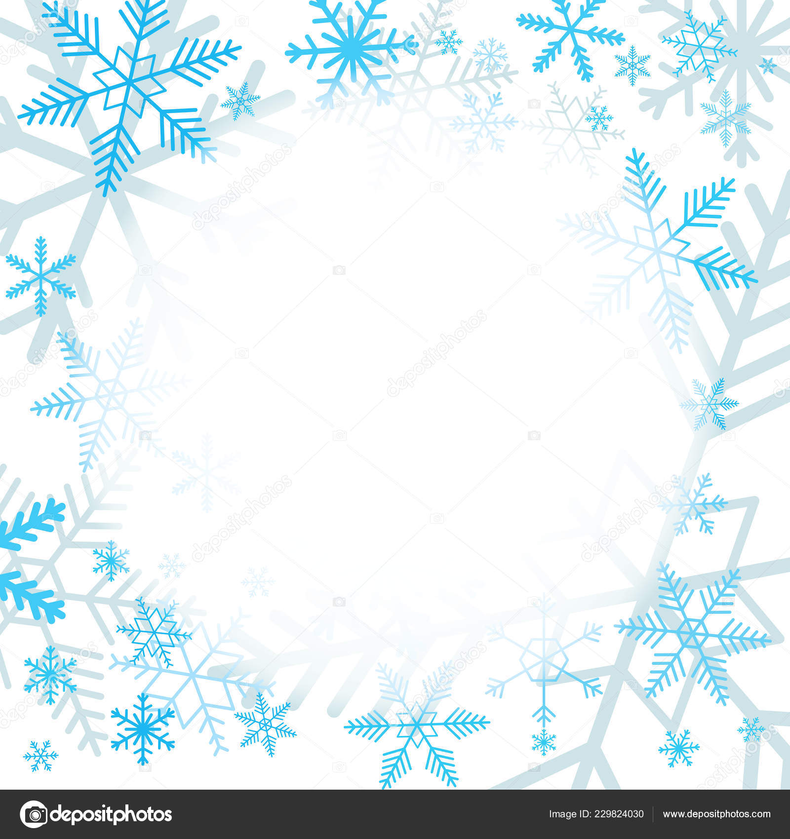 Blue Snowflakes White Background Blank Area Your Message