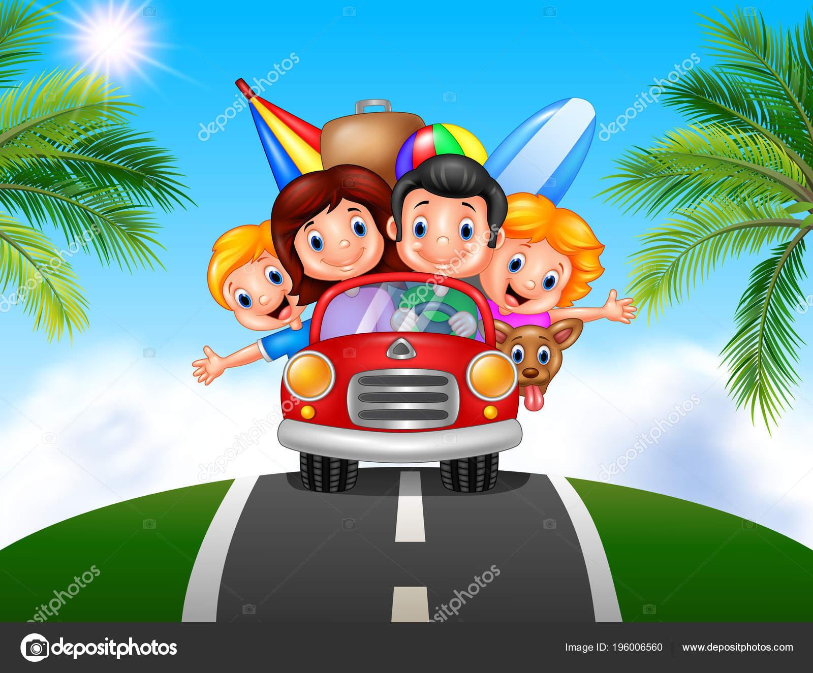 Vector Feliz Viaje Familia: Fondo Vacaciones Familia Dibujos Animados