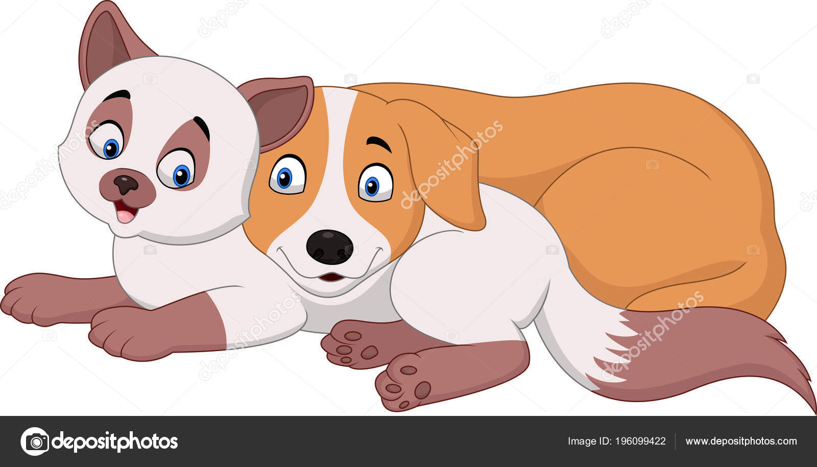 Desenho Animado Gato Cachorro Relaxamento Vetor De Stock
