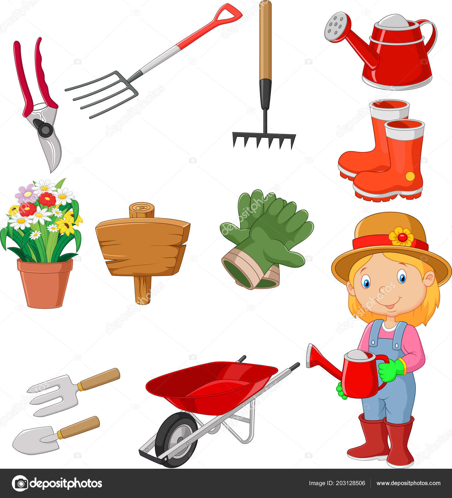 Cartoon Women Holding Watering Gardening Tool — Stock Vector ...