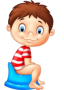 Cartoon boy sitting on the potty