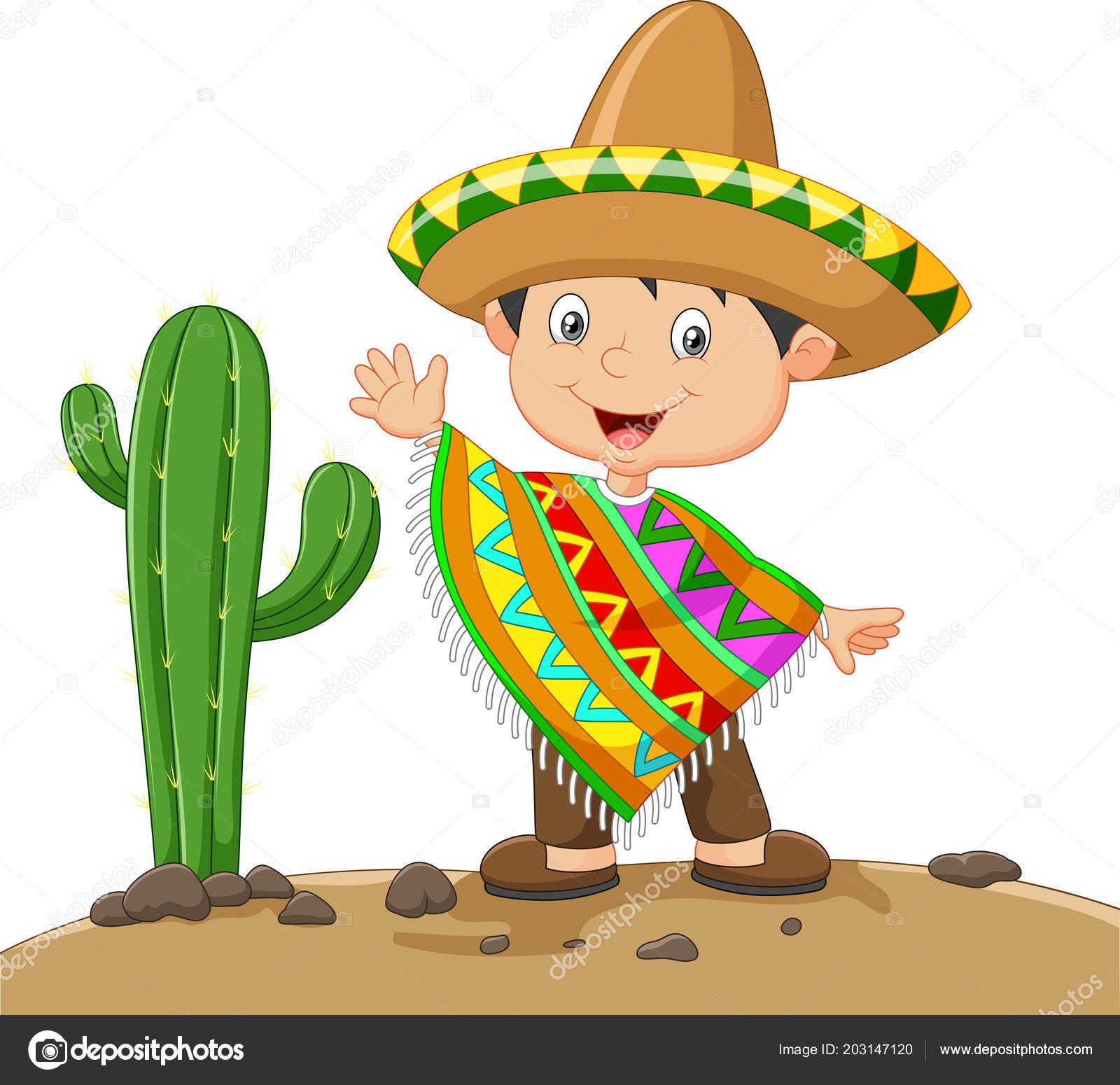 Niño de dibujos animados vestido mexicano - vector  dibujo charro mexicano  — Vector de tigatelu — Vector de tigatelu 3e5936143ca