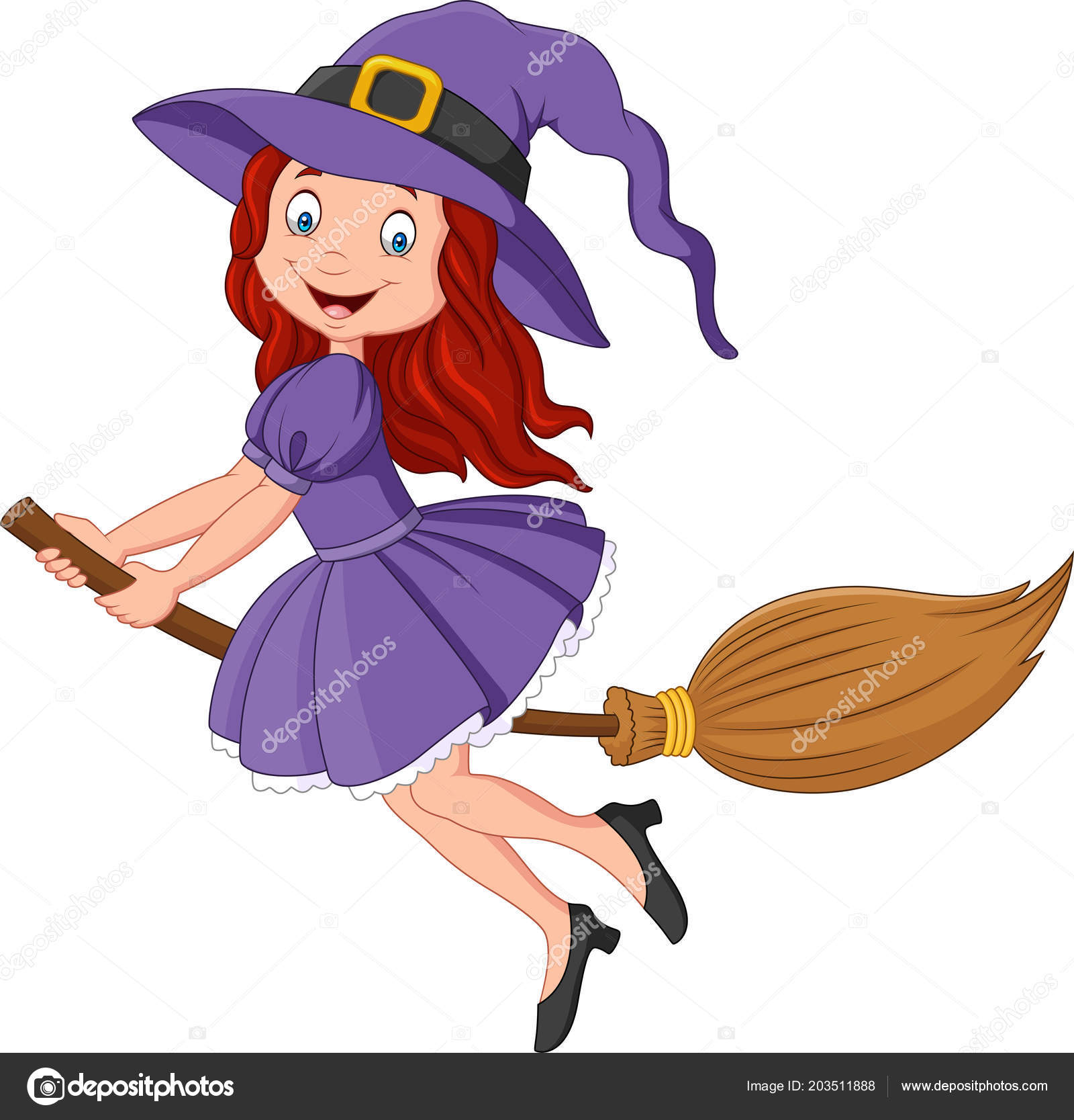 Cartoon Little Witch Flying Use Broomstick Stock Vector