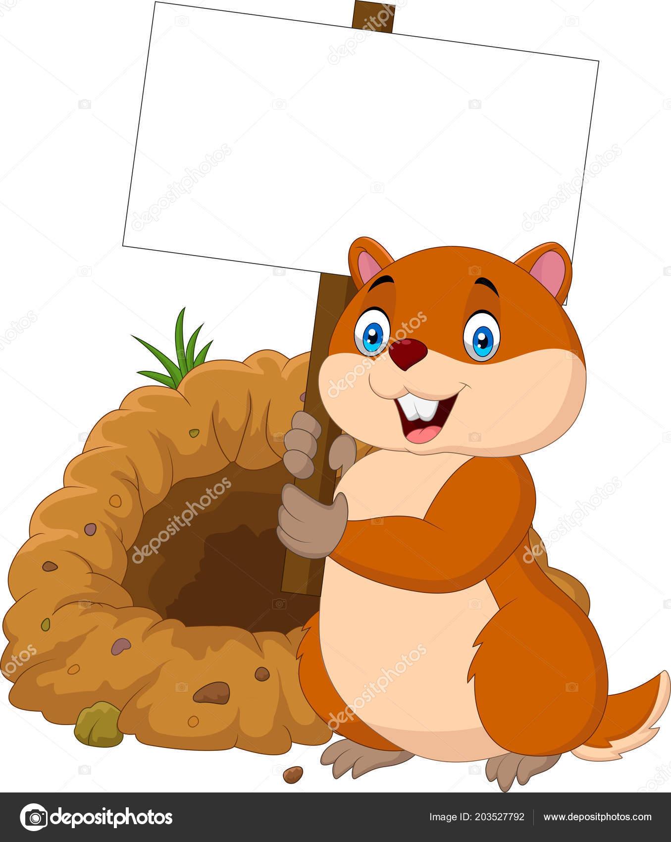 Marmotte Dessin Animé Tenant Une Pancarte Blanche — Image ...