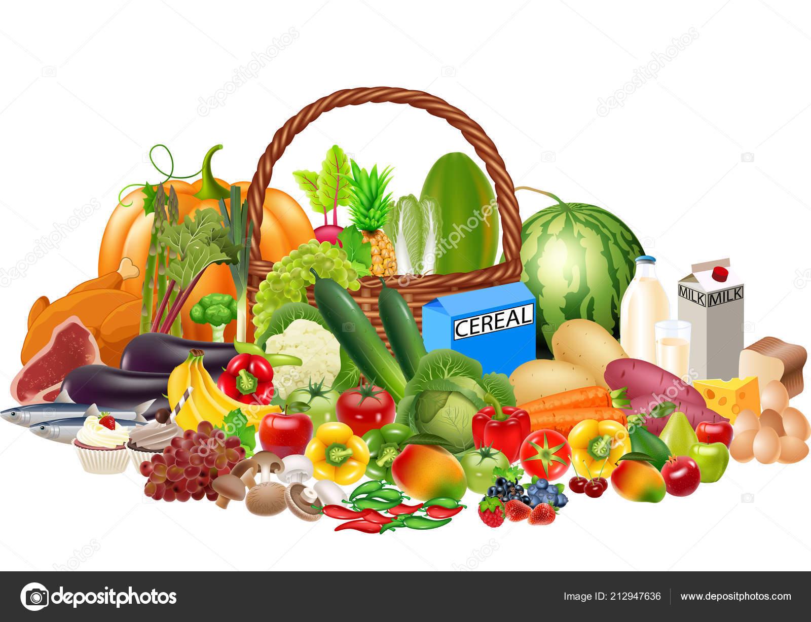 8bb15159f Ilustração Vetor Alimentos Saudáveis Cartoon Contém Frutas Legumes Proteínas  Carboidratos — Vetor de Stock