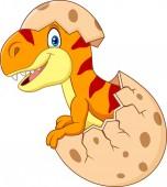 Fotografie Vector illustration of Cartoon funny dinosaur hatching