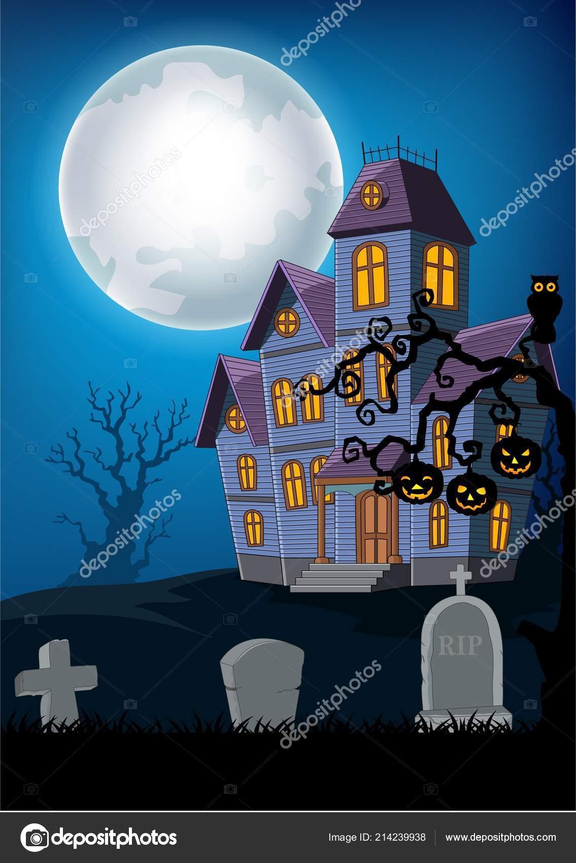 Illustration Vectorielle Maison Hantée Dessin Animé Avec