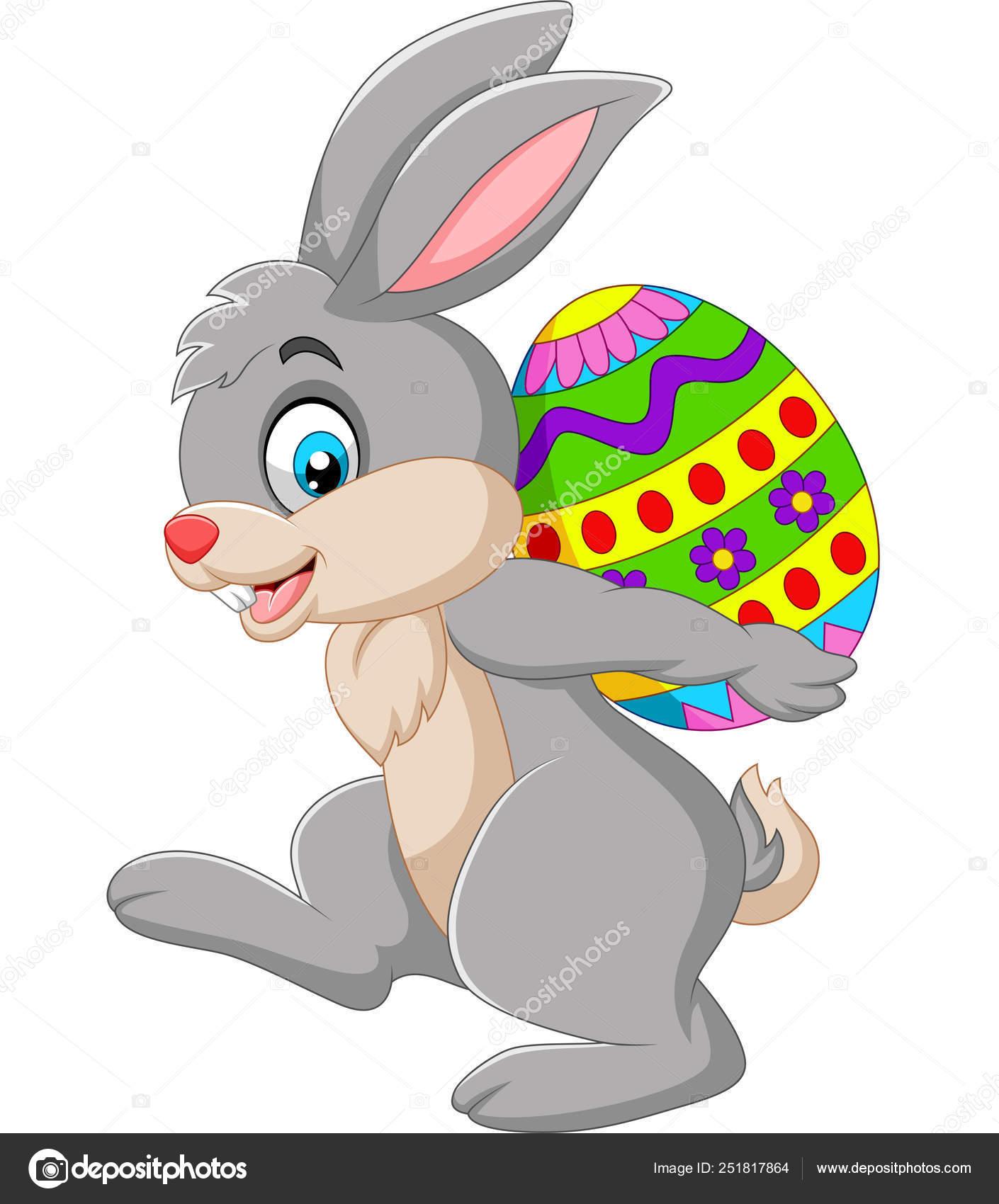 Vector Illustration Cartoon Rabbit Carrying Easter Egg — Stock ...