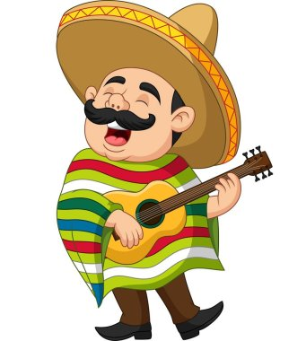 Vector illustration of Cartoon of Mexican man playing the guitar and singing