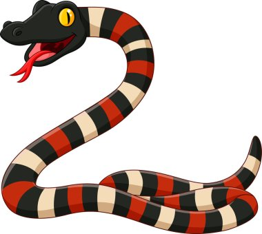 Vector illustration of Cartoon angry snake on white background
