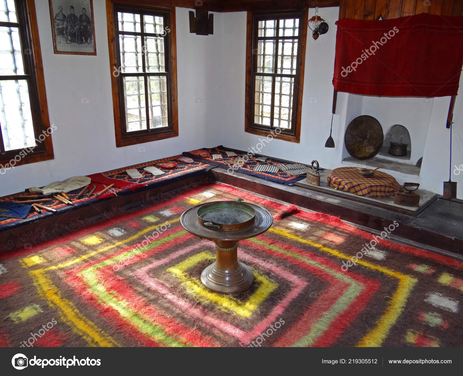 Ambiance Et Style Poitiers traditional bulgarian medieval living room interior – stock