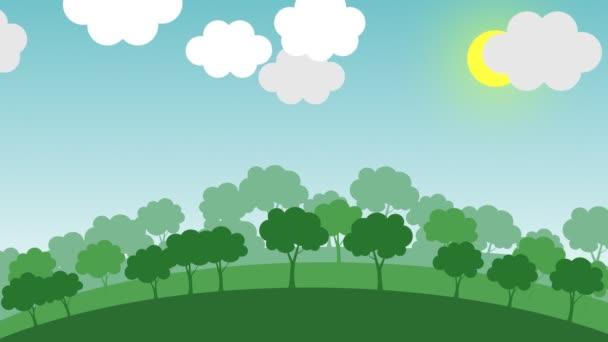 Animace ukazuje přechod od zeleného lesa znečištěné město, způsobené lidskou činností