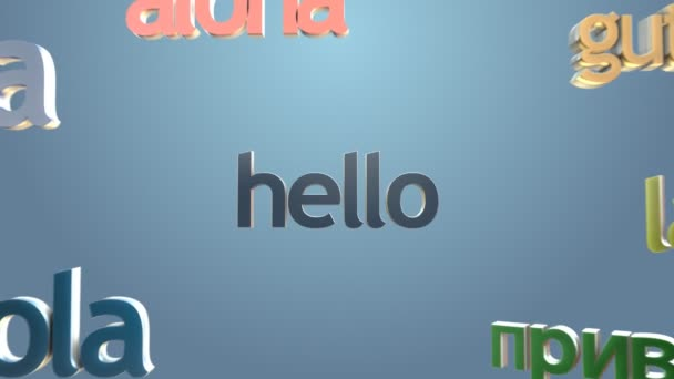 Language learning concept three dimensional words hello many language learning concept three dimensional words hello many languages greetings stock video m4hsunfo