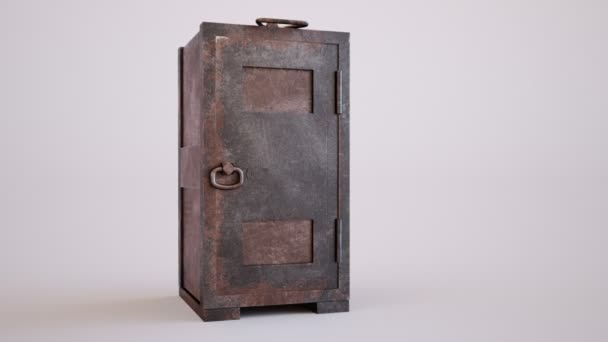 Stará, rezavá, prázdný ocel s odemčené dveře v koncepční obrázek finance, bohatství, vloupání