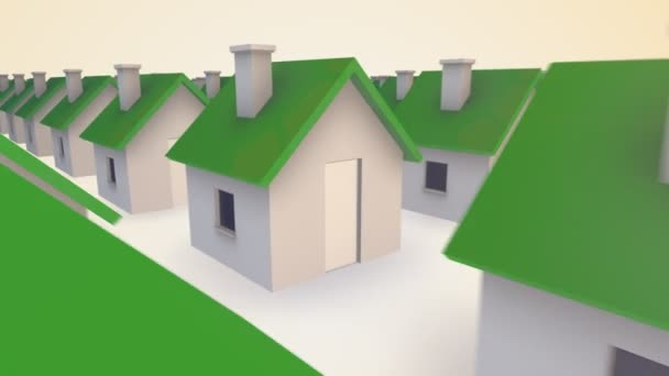 A lot of tiny houses with green tops ar slowly merge into each other. Concept representate of development, unity, combination, socialization.