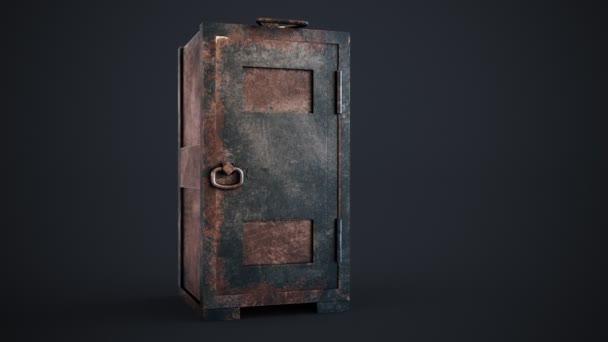 Stará, rezavá, ocel s zamčené dveře v koncepční obrázek financí a majetku