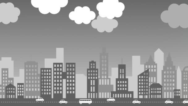 transformace šedé, znečištěné město zeleně, ekologické město s větrné turbíny a stromy