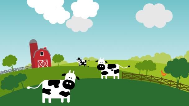 Mimozemšťané střílet v krávě během slunečného dne na farmě tha