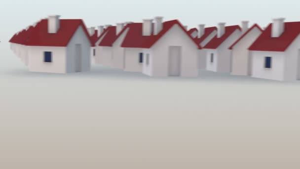 A hundreds of tiny houses with red roofs creating a big word development.