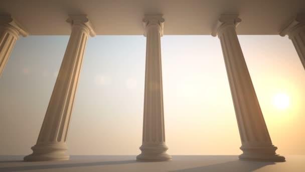 Colonne di classico stile greco bianco. Loopable animazione CG