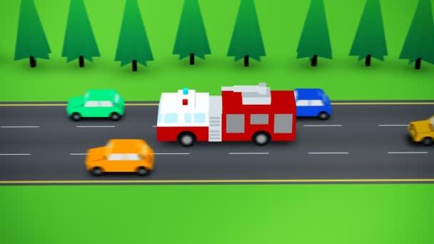 Pohled z hasičské auto na rušné silnici