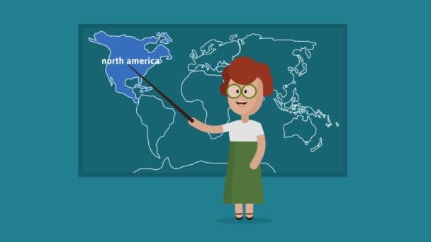 Female Class Teacher Teaching Colorful Seven Continents In Class
