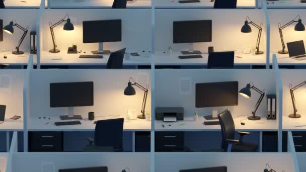 Pohled z vysokého úhlu kójí s židlemi a počítače v moderní kanceláři