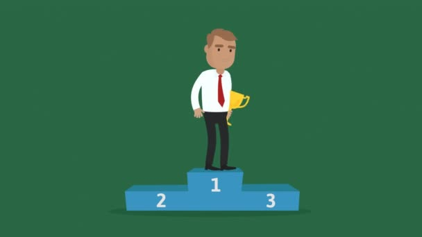 Businessman Proudly Standing On The Winning Podium Holding Up Winning Gold Trophy