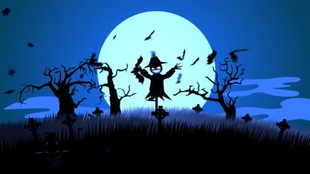 Strašidelné Halloween strašák hřbitově