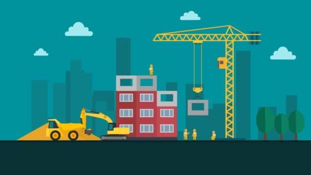 Výstavba budovy v moderním městě s jeřábem a pracovníků