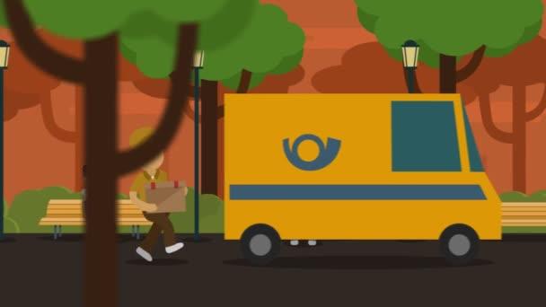 Služba kurýr doručovatel uvedení parcele ve stěhovacím voze v parku
