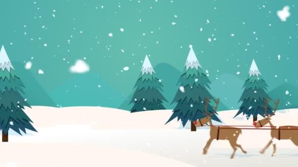 Vánoční Santa Claus jízdu na saních s sobů v zimě