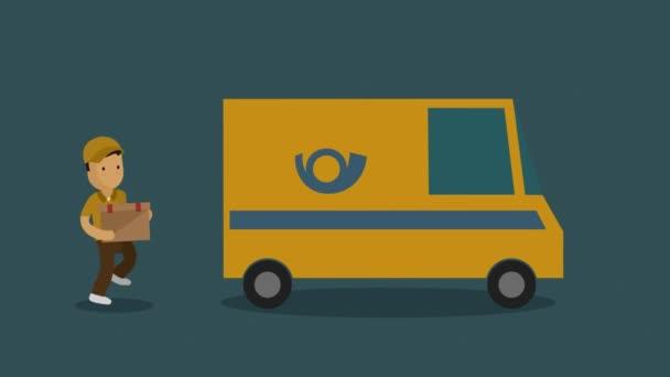 Služba kurýr doručovatel uvedení parcele ve stěhovacím voze
