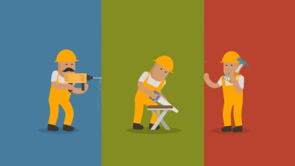 Set Of Workman Doing Different Diy Chores Including Drilling, Sawing And Hammering