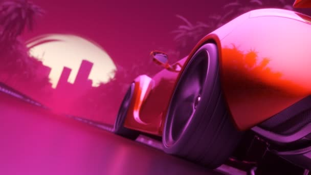 Sport car driving towards the city  Synthwave stylised looped animation