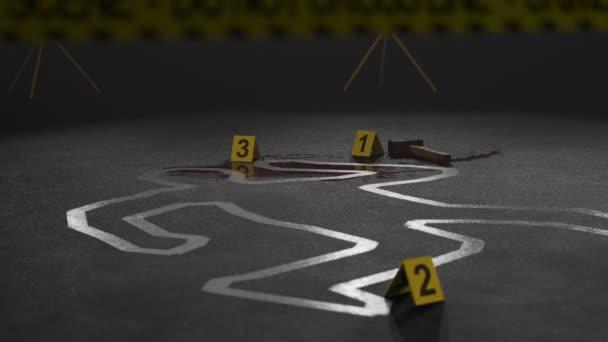 Body outline on the crime scene  Camera pedestal up and tilts down