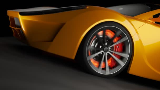 Overheated brake disk glowing red. Static camera fixed on the front of a yellow sport car. Loopable animation.