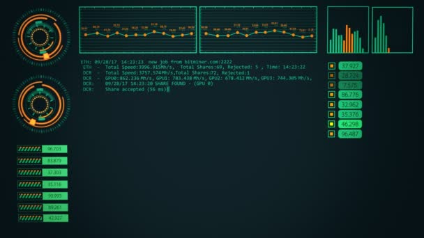 Graphical interface showing bitcoin mining process