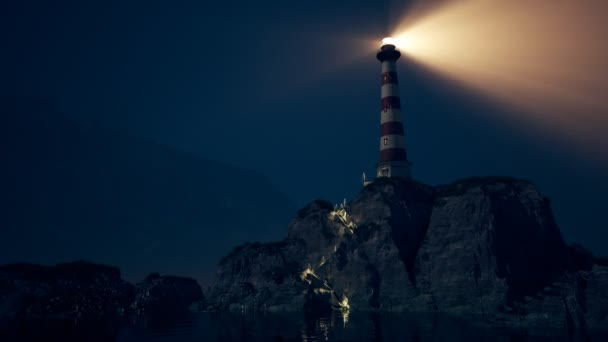 Beam of light from lighthouse rotating over the sea  Loopable animation