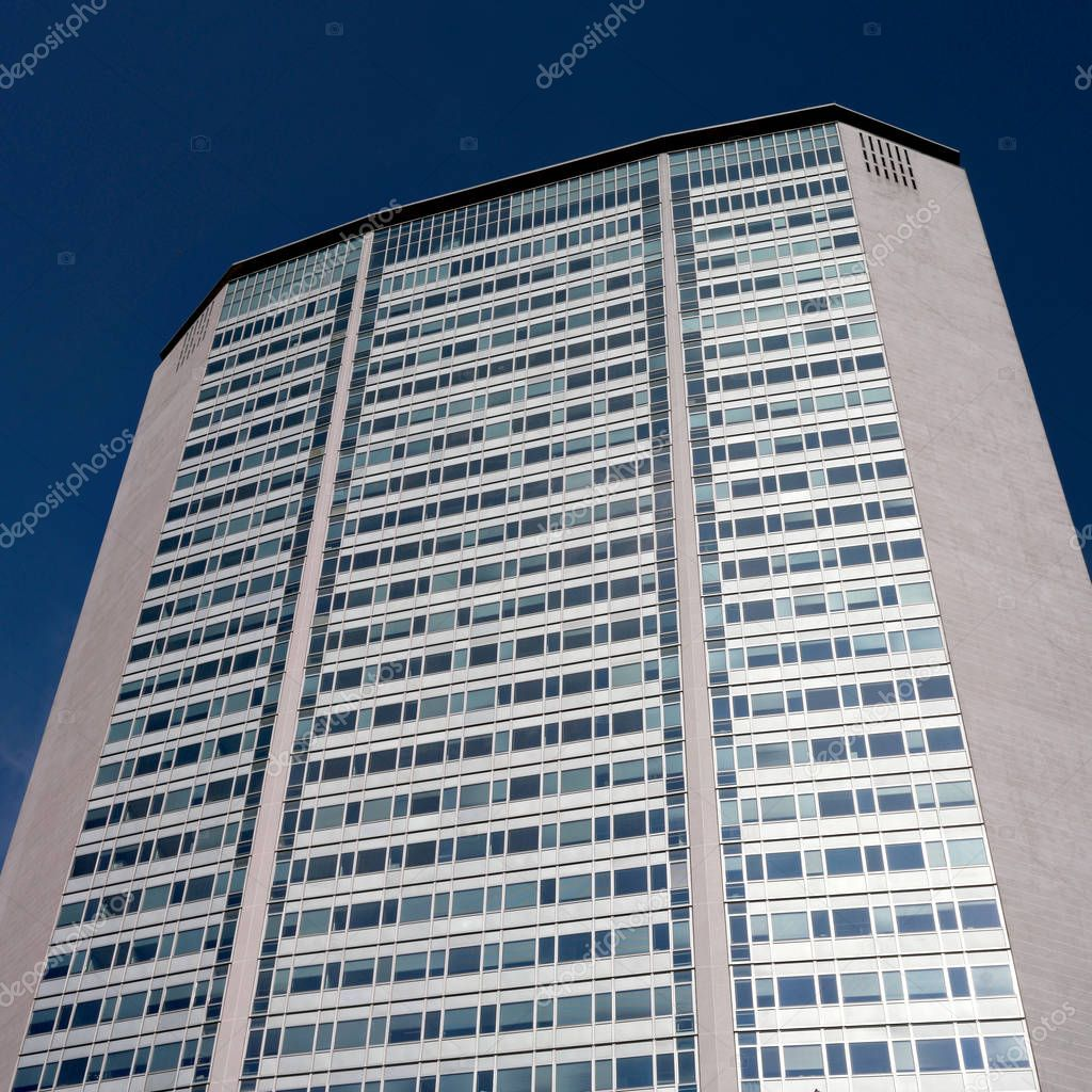 Milan, Italy - 10 May 2018: Skyscraper Pirelli Tower-Pirellone at the railway station Milano Centrale. Grattacielo pirelli was designed by Gio Ponty and Pier Luigi Nervi in the fifties