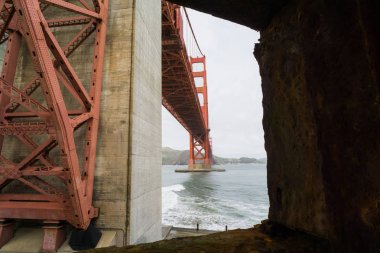 Old Civil War era seacoast fort under the Golden Gate Bridge in San Francisco