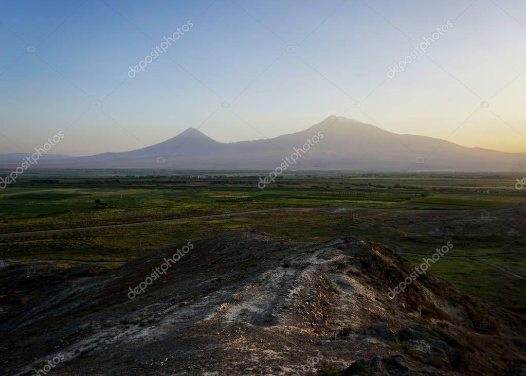 Khor Virap Mount Ararat View at Sunset in Summer from a Hill