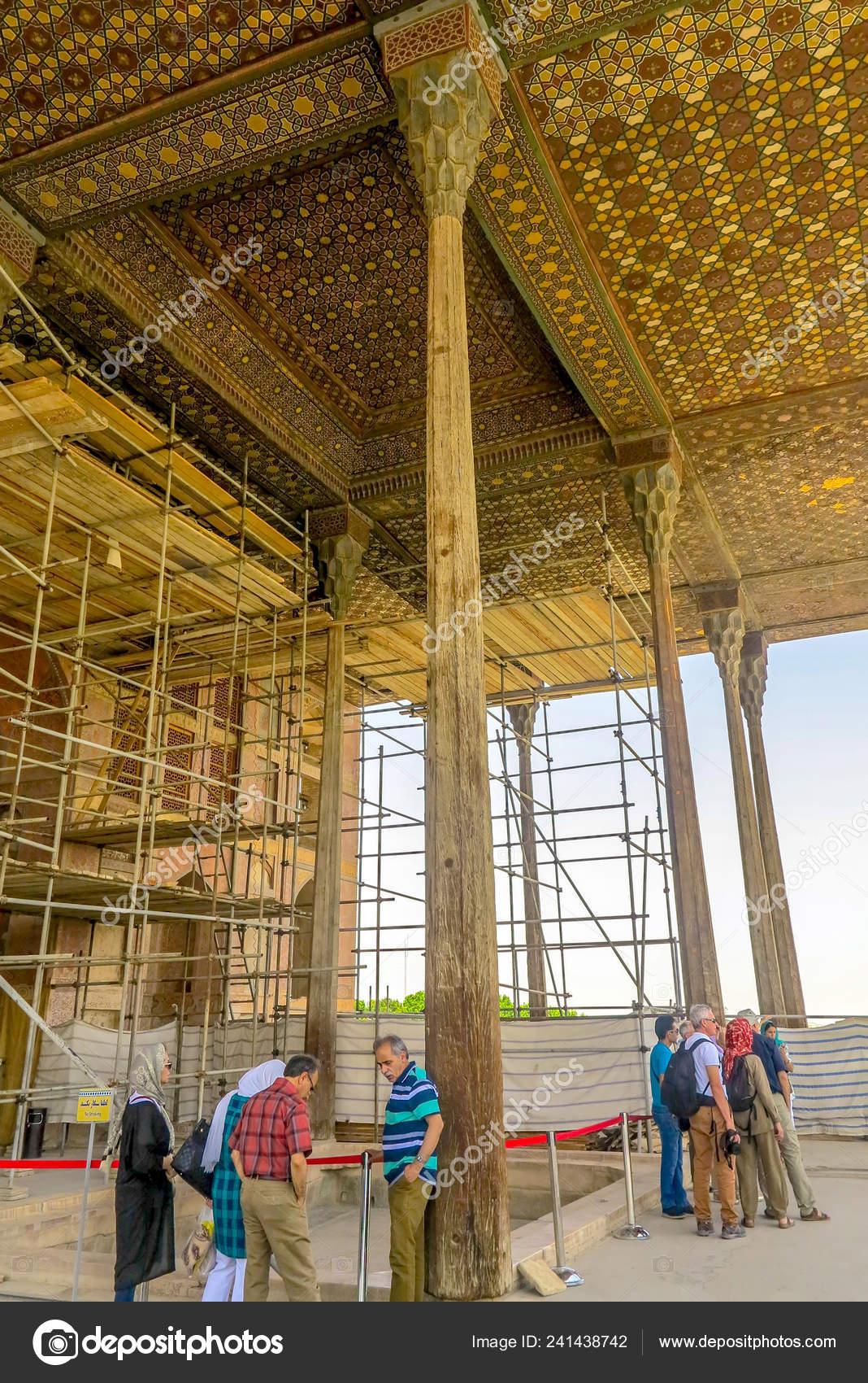 Palacio Real Isfahán Ali Qapu Terraza Balcón Con Pilares