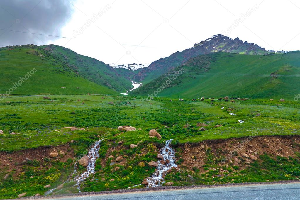 Suusamyr Too Snow Capped Mountain Range Landscape View Point with Two Small Streams