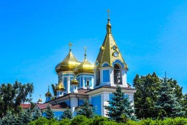 Chisinau Ciuflea Monastery Saint Theodore Tyro Main Church Side View with Golden Cupola Crosses