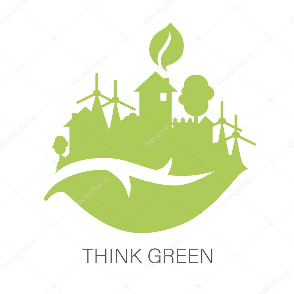 Think green and Ecology concept with green city on leaf, green energy concept, vector illustration