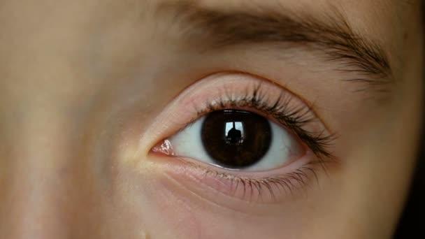 Dívka dítě oko, oko tmavě hnědé levé zavřít nahoru, Closeup, dívka dítě oka
